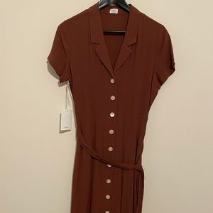 Aritzia wilfred rust front tie dress small new